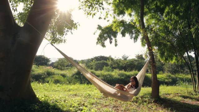 vidéos et rushes de lockdown shot of woman reading book while resting on hammock in forest during sunny day - brightly lit