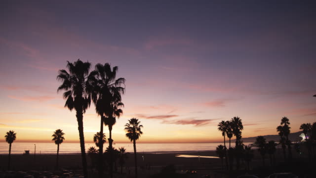 ws, lockdown, sunset at the beach, los angeles, california, usa - viewpoint stock videos and b-roll footage