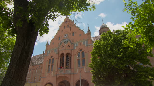 vidéos et rushes de lockdown through tree canopy to the top of the fa�ade of town hall in kecskemet - roche