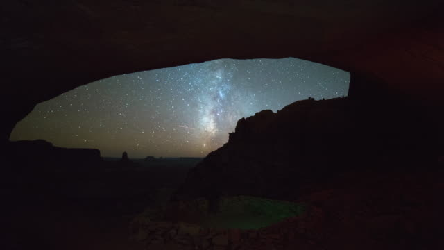 stockvideo's en b-roll-footage met lockdown time lapse shot of false kiva in dark against milky way at night - arches national park, utah - kiva