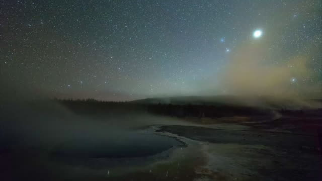 lockdown time lapse shot of smoke over geyser against stars at night - yellowstone national park, wyoming - yellowstone national park stock videos & royalty-free footage