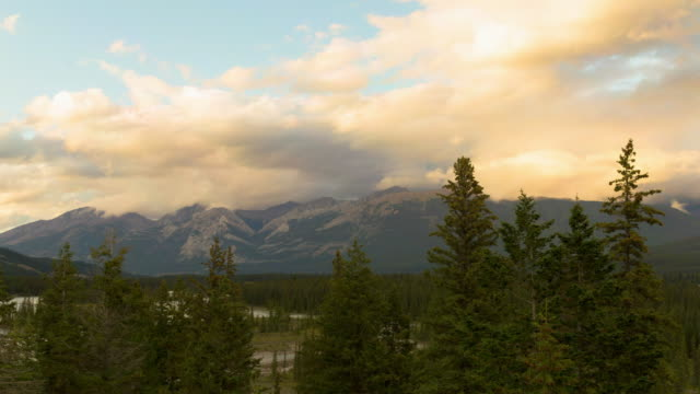 lockdown time lapse shot of trees and mountain range against cloudy sky during sunset - jasper national park, canada - jasper national park stock videos & royalty-free footage