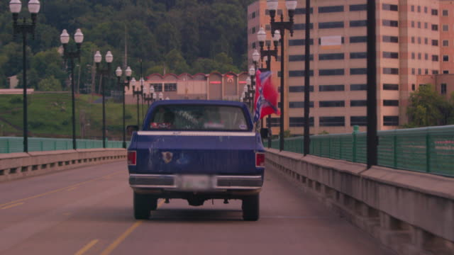 lockdown: truck with confederate flag (shot on red) - confederate flag stock videos & royalty-free footage