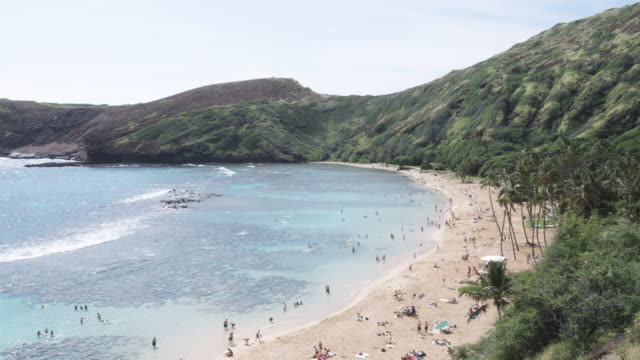 ws, lockdown, view of a beach and cliffs behind, honolulu, hawaii, usa - honolulu stock videos and b-roll footage
