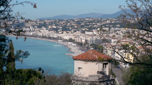 lockdown: view of nice france bay beside the beautiful city full of buildings - next to stock videos and b-roll footage