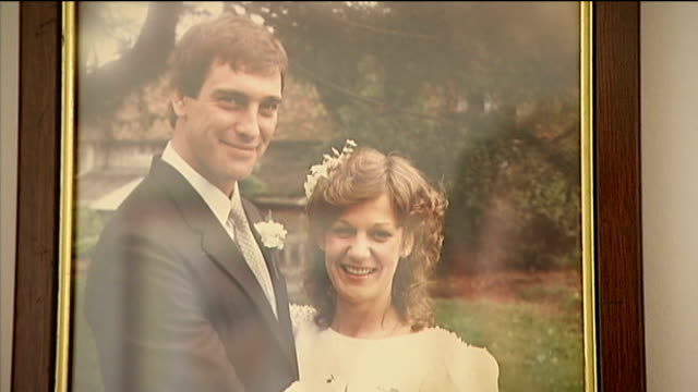 'locked-in syndrome' sufferer tony nicklinson dies; lib engalnd: wiltshire: chippenham: int photograph of tony nicklinson and his wife jane... - チッペナム点の映像素材/bロール