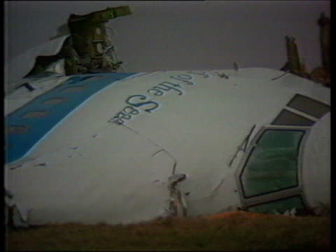 lockerbie bomber granted right to appeal tx dumfries and galloway lockerbie ext plane cockpit wreckage in field - dumfries and galloway stock videos & royalty-free footage