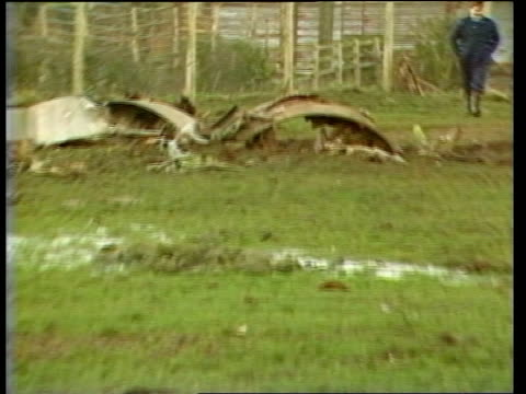accident investigators itn lib scotland lockerbie piece of fuselage near to fence pull out more wreckage - lockerbie stock videos & royalty-free footage