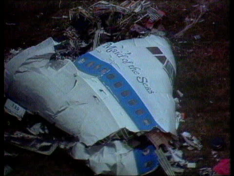 compensation anat scotland seq remains of plane and damage in town tx lockerbie after bombing of pan am flight itn - lockerbie stock videos & royalty-free footage