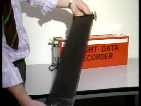 Crash investigation ITN LIB ENGLAND Hants Farnborough EXT CMS 'Dept of Trade Accidents Investigation Branch' name plaque MS Investigation hangar...