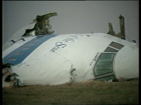 Crash investigation ITN SCOTLAND Dumfries Galloway Cockpit section of crashed Pan Am 747 jet in field PULL Lockerbie TCMS Debris of engine in garden...