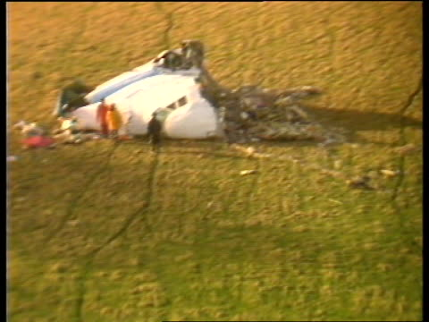 libya said to be involved lib scotland lockerbie seq airvs remains of pan am 747 cockpit in field c4n - lockerbie stock videos & royalty-free footage