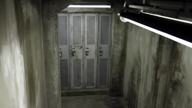 ha lockers in concrete bunker / vancouver, british columbia, canada - トランクルーム点の映像素材/bロール