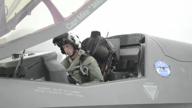 lockheed martin f35 lightning ii operations on uss wasp - pilot stock videos & royalty-free footage