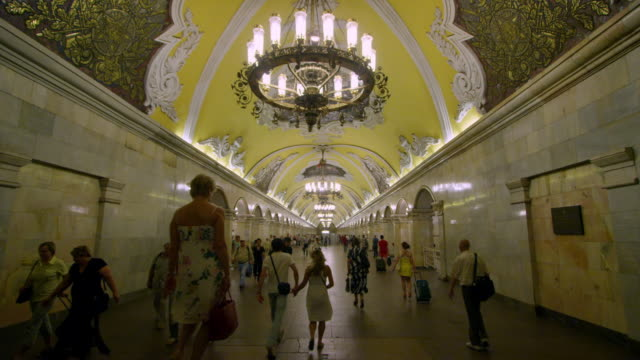 Lockoff Commuters in Moscow's underground Metro station