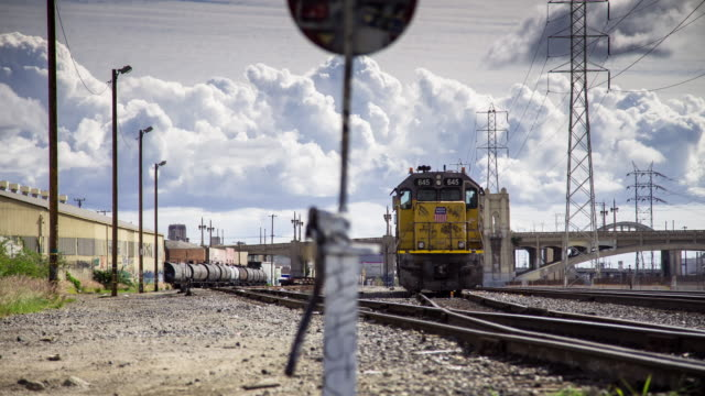 locomotive arriving in rail yard - timelapse - shunting yard stock videos and b-roll footage