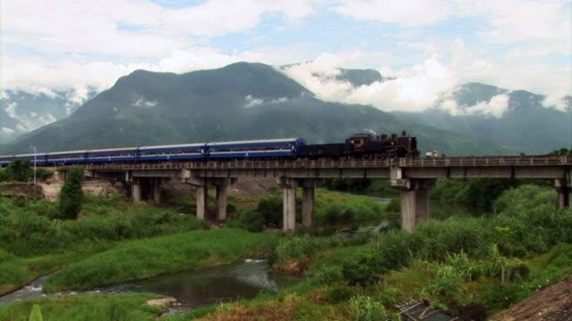 locomotive moving in pingxi, taiwan - taiwan stock videos & royalty-free footage