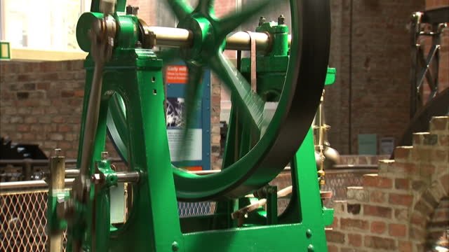 locomotive steam engines and parts on display and in action in train history museum on june 23, 2014 in manchester, england. - industrial revolution stock videos & royalty-free footage