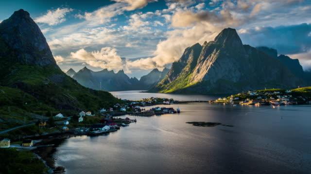 AERIAL Lofoten Island Landscape at Reine, Norway