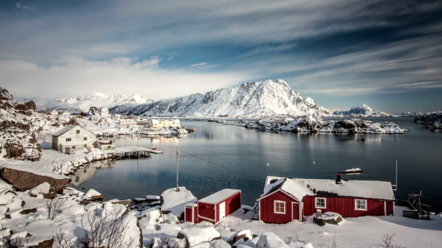 time lapse: lofoten winter landscape - fishing village stock videos and b-roll footage