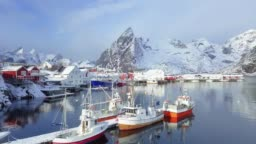 Lofoten winter scenery with Hamnoy fishing village, Norway, Scandinavia