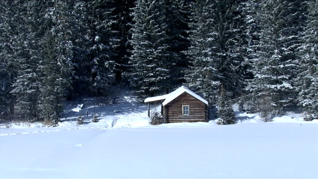a log cabin at the edge of a frozen lake backs onto vast, dense boreal forests, northern canada. available in hd. - log cabin stock videos & royalty-free footage