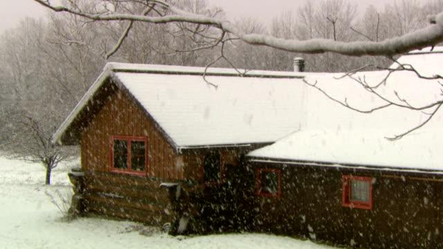 MS Log cabin in heavy snow, Tweed, Ontario, Canada