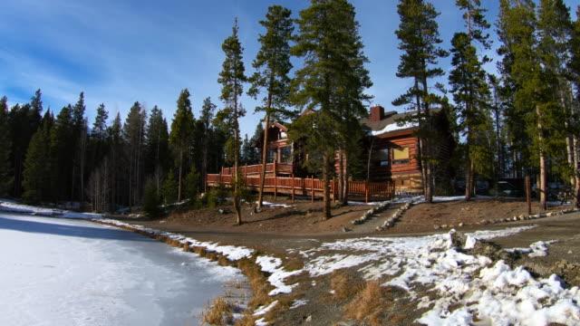 Log cabin on the edge of a mountain lake..
