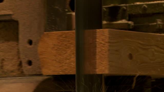 Log Cut into Lumber in a Sawmill Closeup