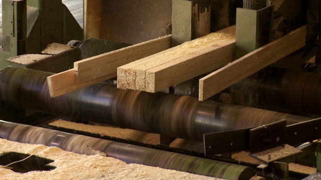 log cut into lumber in a sawmill - lumberyard stock videos and b-roll footage
