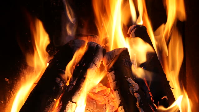 Log fire in a fireplace - HD 1080p