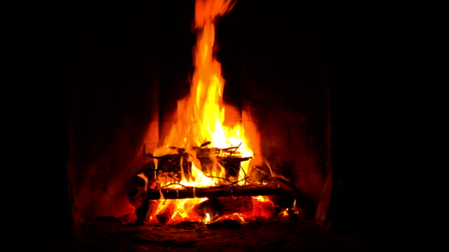 log fire - warming up stock videos and b-roll footage
