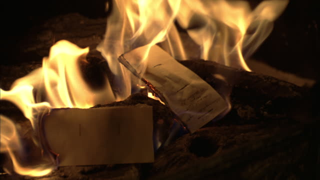 CU Log fire with burning documents