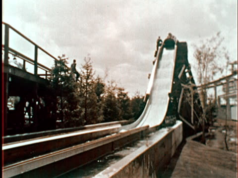 log flume water slide ride at new york world's fair/ from inside log speeding down slide/ queens, ny - unknown gender stock videos & royalty-free footage