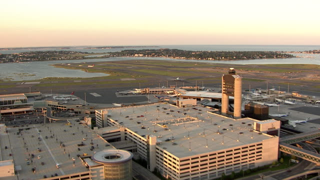 aerial, logan airport, boston, massachusetts, usa - boston stock videos and b-roll footage