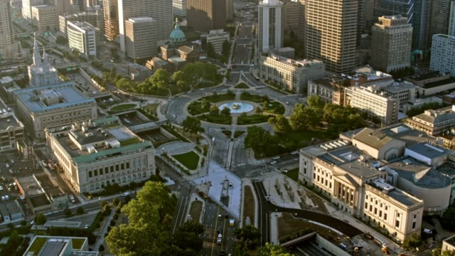 aerial logan circle in center city in philadelphia, pennsylvania - center city philadelphia stock videos and b-roll footage