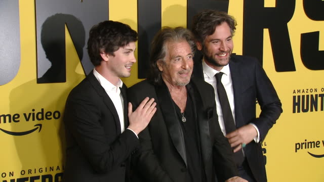 logan lerman al pacino josh radnor at the world premiere of amazon original hunters at dga theater on february 19 2020 in los angeles california - al pacino stock videos & royalty-free footage