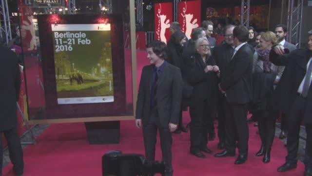 stockvideo's en b-roll-footage met logan lerman at 'indignation' red carpet 66th berlin international film festival at cinemaxx on february 14 2016 in berlin germany - internationaal filmfestival van berlijn 2016