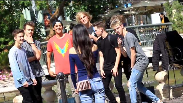 logan paul fooling arround at the grove in hollywood in celebrity sightings in los angeles, - the grove los angeles stock videos & royalty-free footage