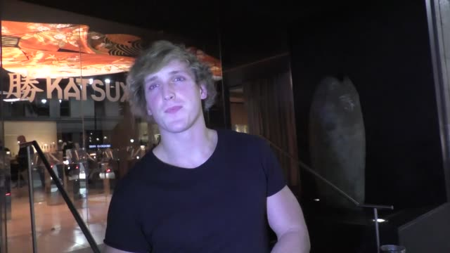logan paul talks about doing the splits leaving dinner at katsuya restaurant in hollywood in celebrity sightings in los angeles, - doing the splits stock videos & royalty-free footage