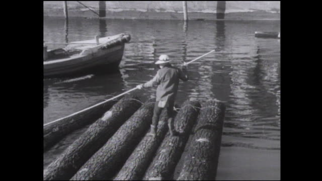 vídeos y material grabado en eventos de stock de a logger makes a log raft and then uses a pole as he floats the raft under a bridge. - troncos