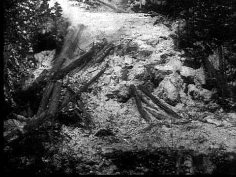 vidéos et rushes de 1927 b/w montage ws tu td loggers pushing logs down steep hill, ontario, canada - b roll