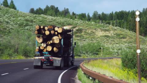 vídeos y material grabado en eventos de stock de un camión de registro con una carga completa conduce lentamente a lo largo de una carretera en las montañas de wyoming en un día soleado - madera material
