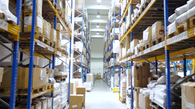 logistic warehouse full of merchandise - warehouse stock videos & royalty-free footage