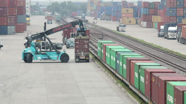 Operatie van de container van de logistiek in spoorweg lading