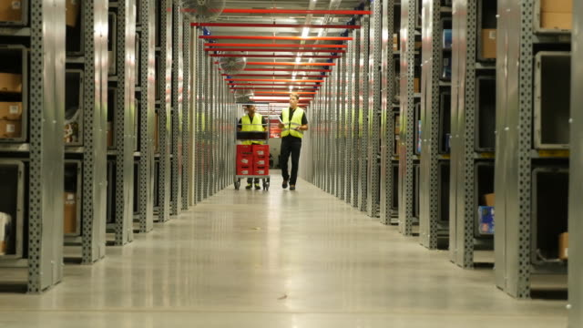 logistics employees sorting merchandise in warehouse corridor - film tagen utanför usa bildbanksvideor och videomaterial från bakom kulisserna