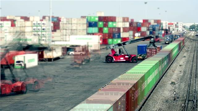 Logistieke operatie in spoorweg container tuin.