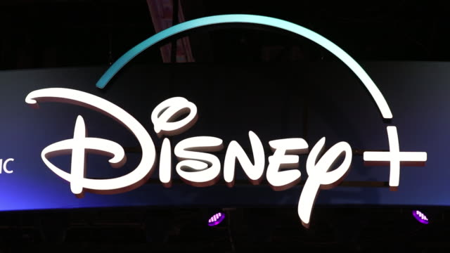 Logo of Disney streaming service at D23 Expo 2019 Anaheim California US on Friday August 23 2019