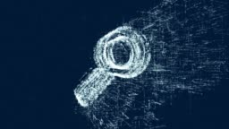 Logo of find, loop news animation. Intro energetic action of abstract magnifier icon