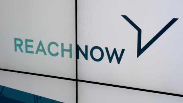 Logo of the brand REACH NOW on a display in the conference room Dieter Zetsche CEO of Daimler AG and Harald Krüger CEO of BMW AG spoke to the media...